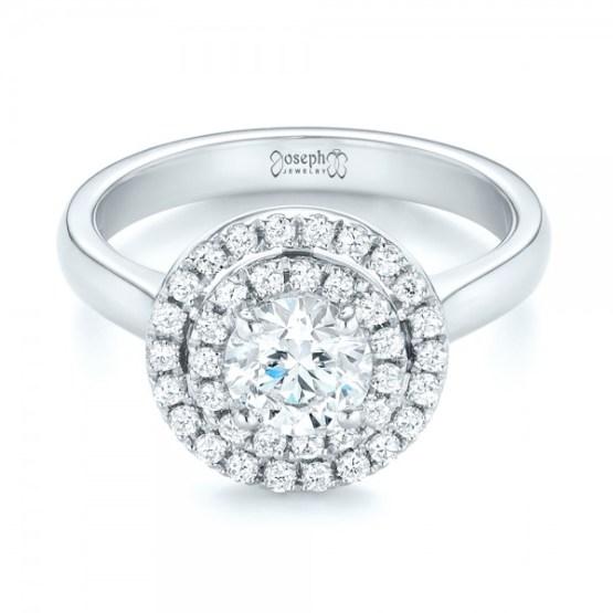 Custom Diamond Double Halo Engagement Ring