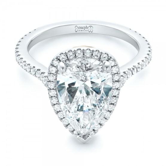 Custom Two-Tone Diamond Halo Engagement Ring