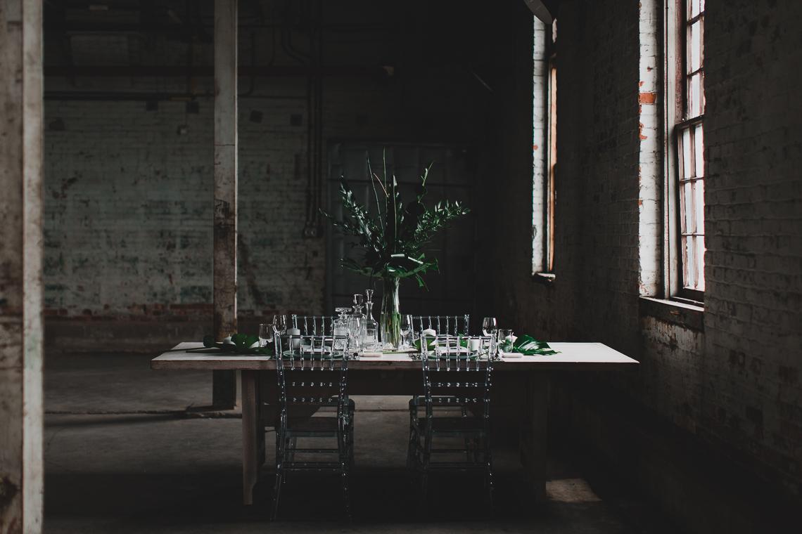 Moody & Modern Warehouse Wedding Inspiration by Jonathan Kuhn Photography 19
