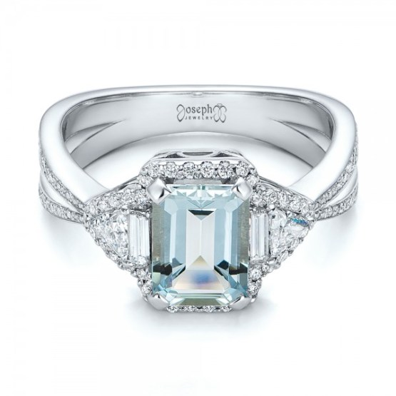 Custom Aquamarine and Diamond Halo Engagement Ring