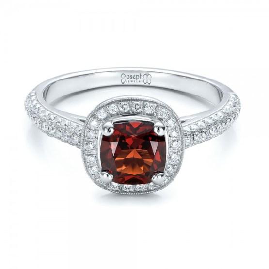 Custom Garnet and Diamond Halo Engagement Ring