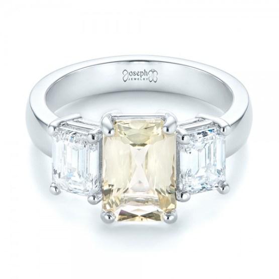 Custom Three Stone Yellow Sapphire and Diamond Engagement Ring