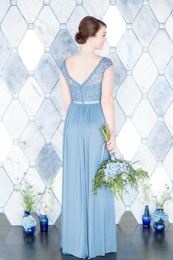 David's Bridal blue bridesmaids dress
