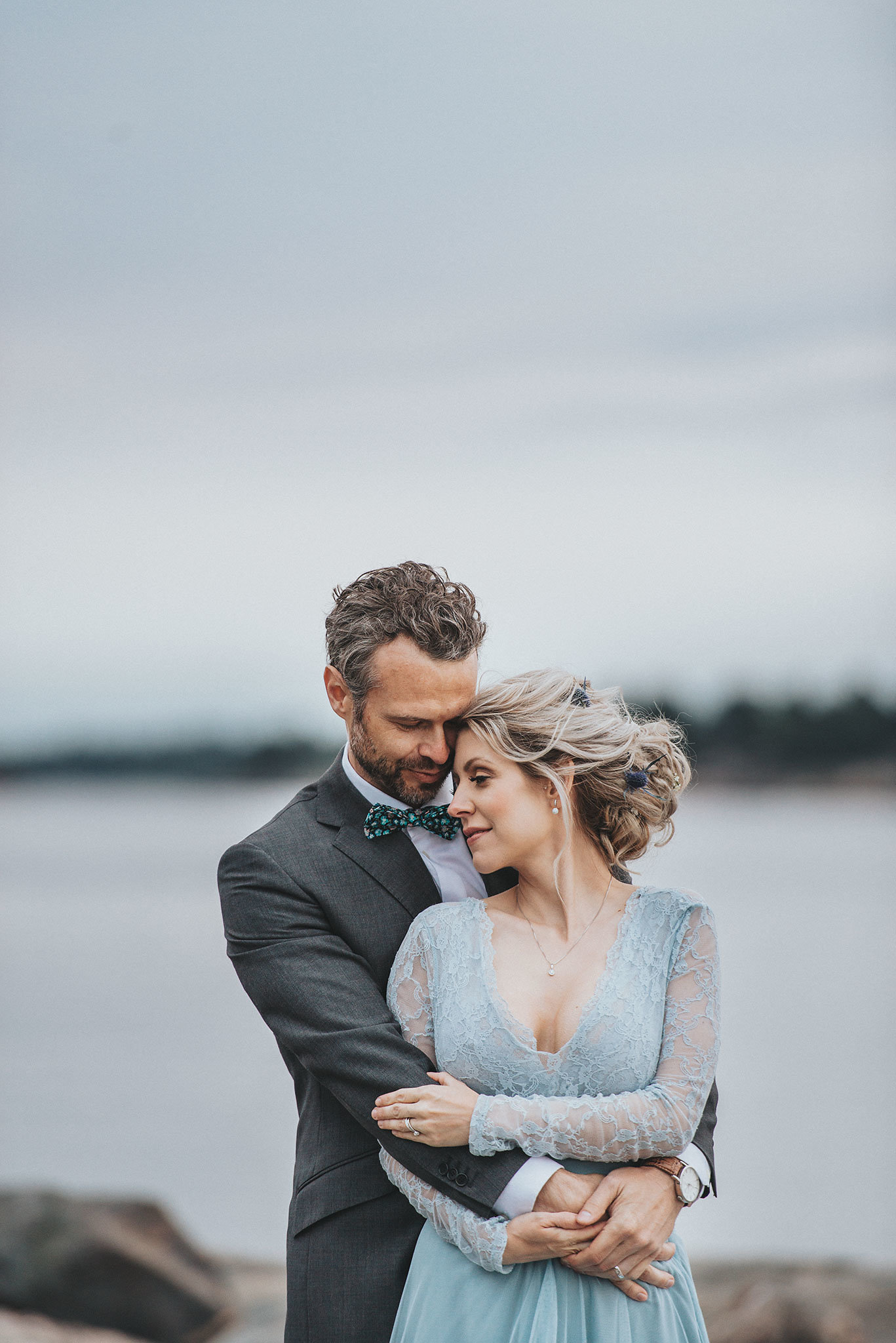 Stormy Scandinavian Wedding Inspiration Featuring a Dramatic Blue Gown | Snowflake Photo 40