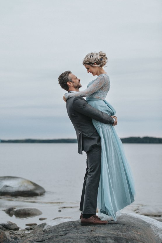 Stormy Scandinavian Wedding Inspiration Featuring a Dramatic Blue Gown | Snowflake Photo 43