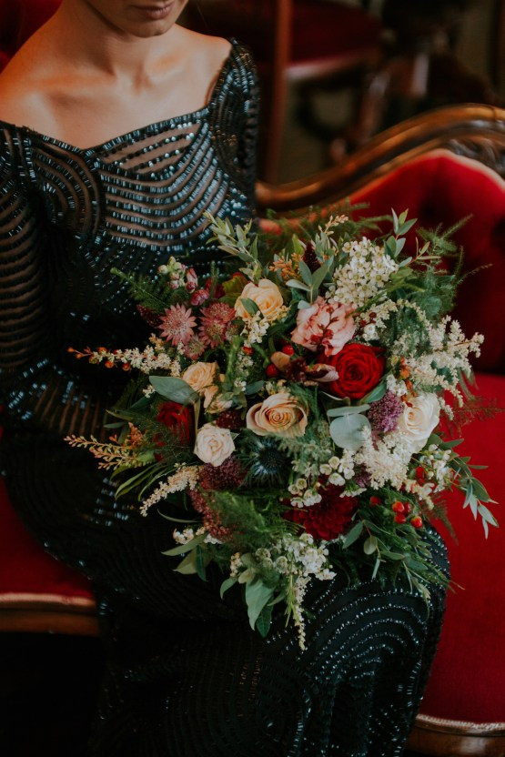 Luxurious Red & Green Wedding Inspiration Featuring A Glam Black Gown | Jamie Sia Photography 41