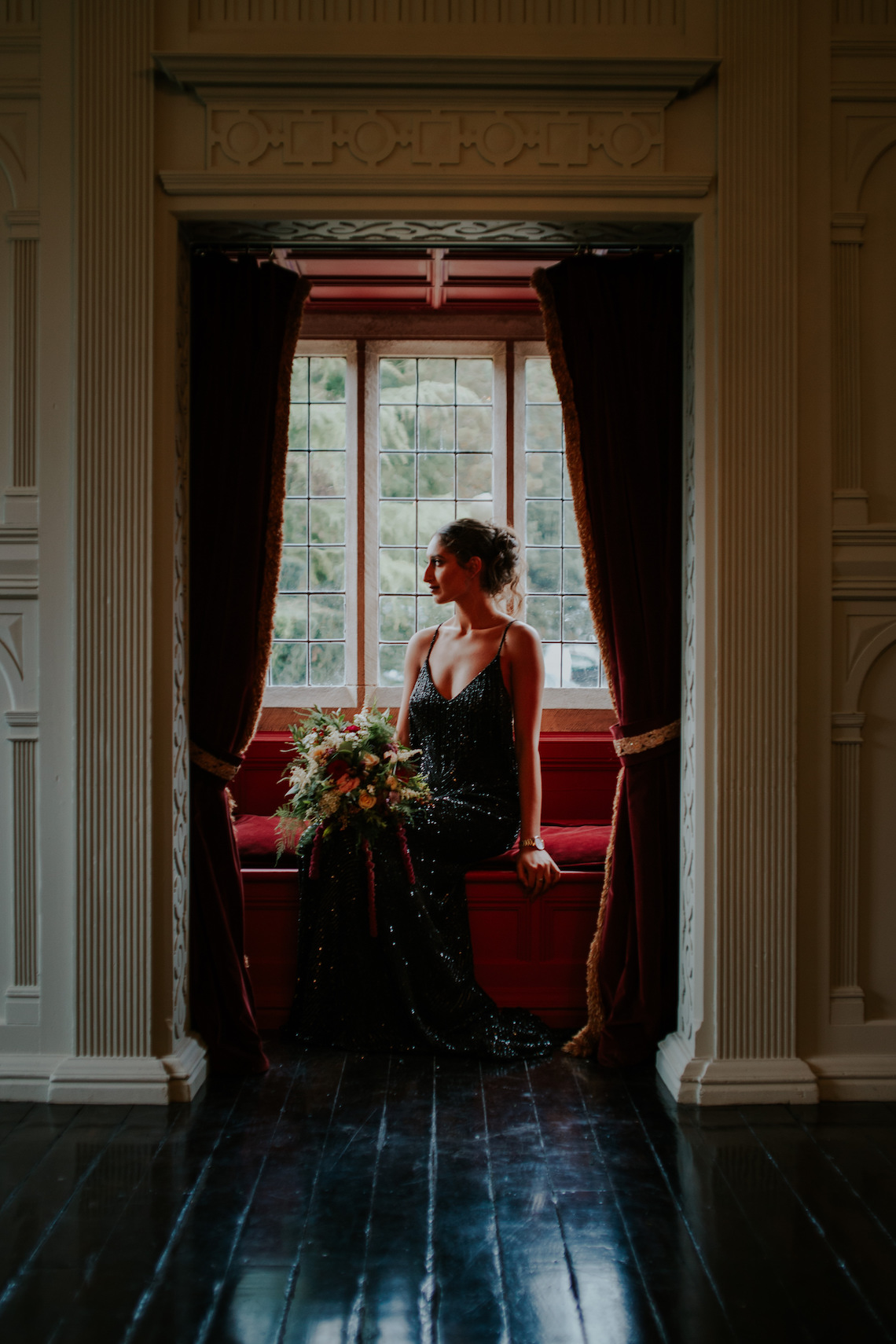 Luxurious Red & Green Wedding Inspiration Featuring A Glam Black Gown | Jamie Sia Photography 49