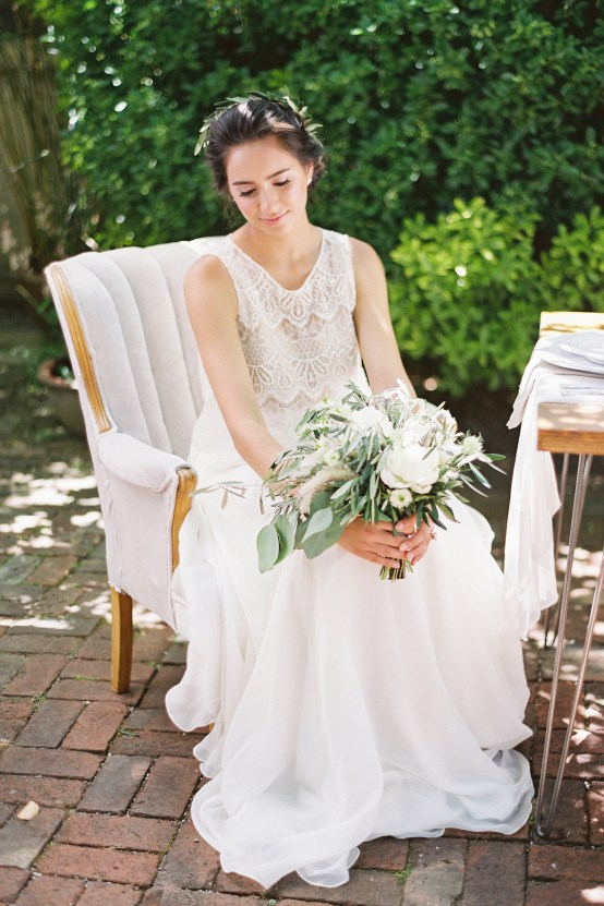 Vintage Lace; Pretty Wedding Ideas Featuring A Crepe Cake & Lamb's Ear Bouquet | Nathalie Cheng 25