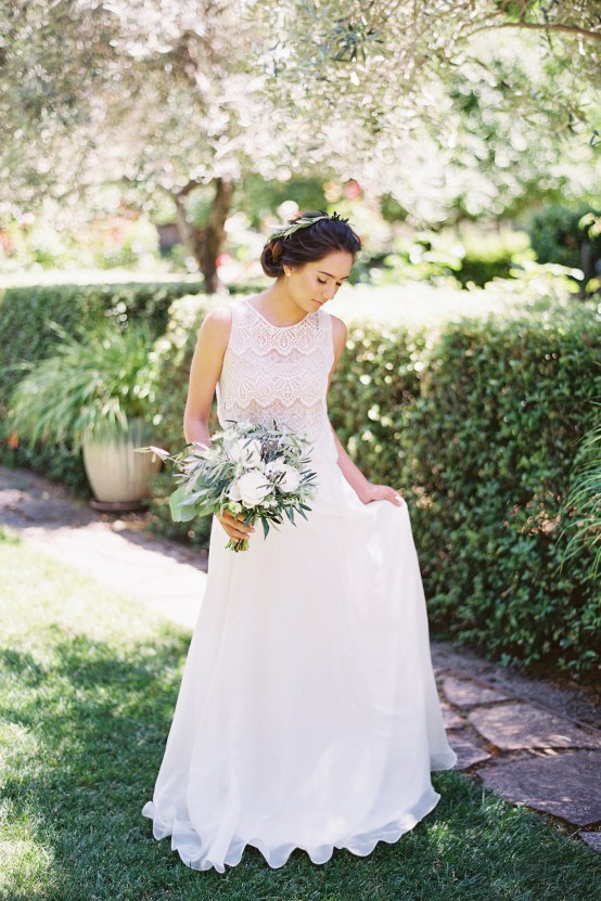 Vintage Lace; Pretty Wedding Ideas Featuring A Crepe Cake & Lamb's Ear Bouquet | Nathalie Cheng 5