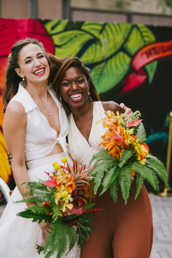 A Designer Bride's Hip Brooklyn Wedding With Tropical Vibes | KM Photo 45