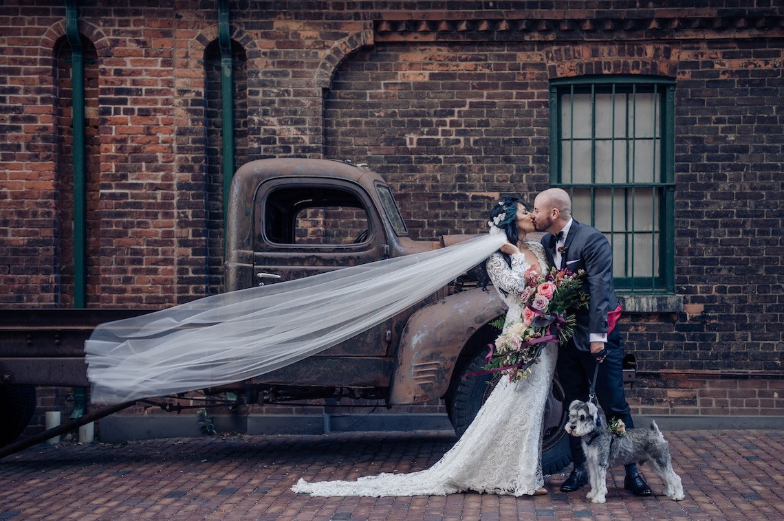 Edgy & Romantic Toronto Distillery Wedding | AGI Studio