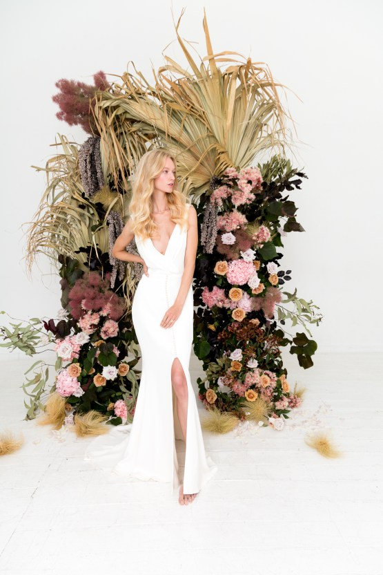 Modern Silk Gowns & Floral Wall Inspiration For The Hip Bride | Anastasia Fua elliftheartist 13