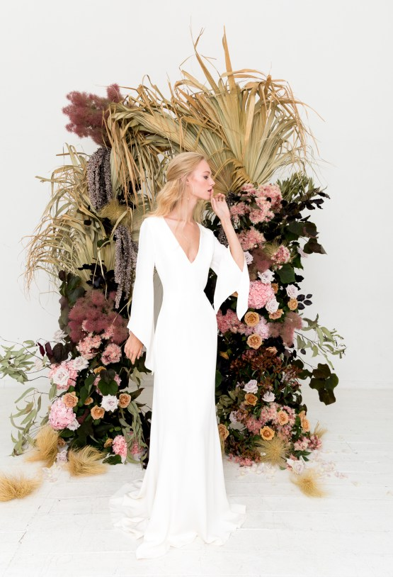 Modern Silk Gowns & Floral Wall Inspiration For The Hip Bride | Anastasia Fua elliftheartist 26