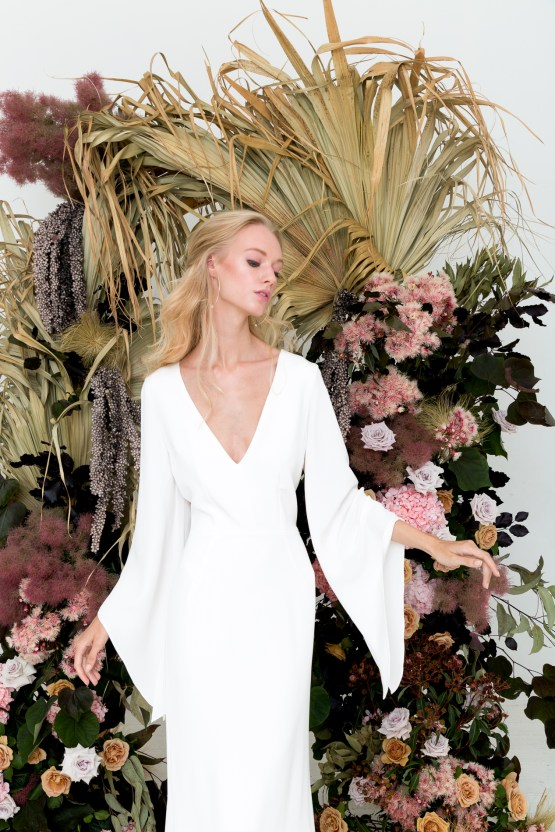 Modern Silk Gowns & Floral Wall Inspiration For The Hip Bride | Anastasia Fua elliftheartist 27