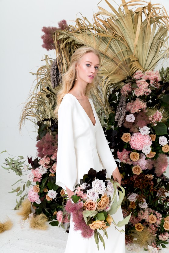 Modern Silk Gowns & Floral Wall Inspiration For The Hip Bride | Anastasia Fua elliftheartist 30