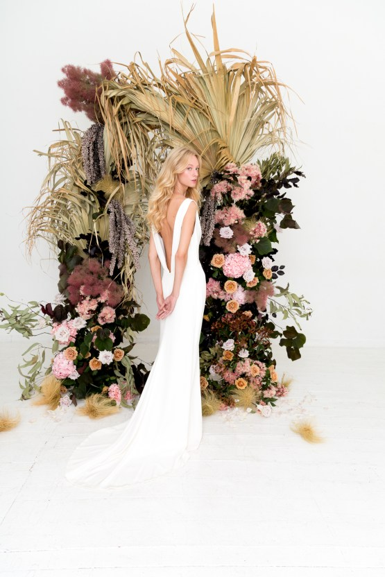 Modern Silk Gowns & Floral Wall Inspiration For The Hip Bride   Anastasia Fua elliftheartist 6
