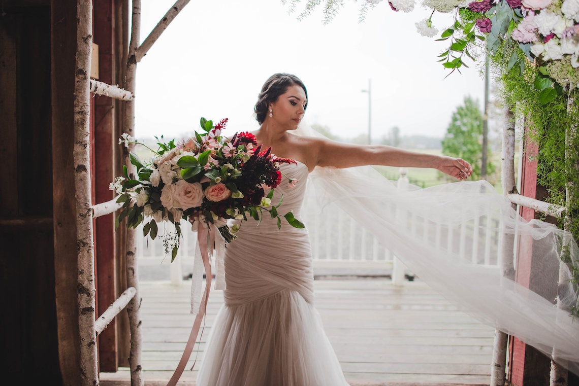 Romance In The Rain; Rustic Barn Wedding Ideas With Dramatic Florals | Flor de Casa Designs 17