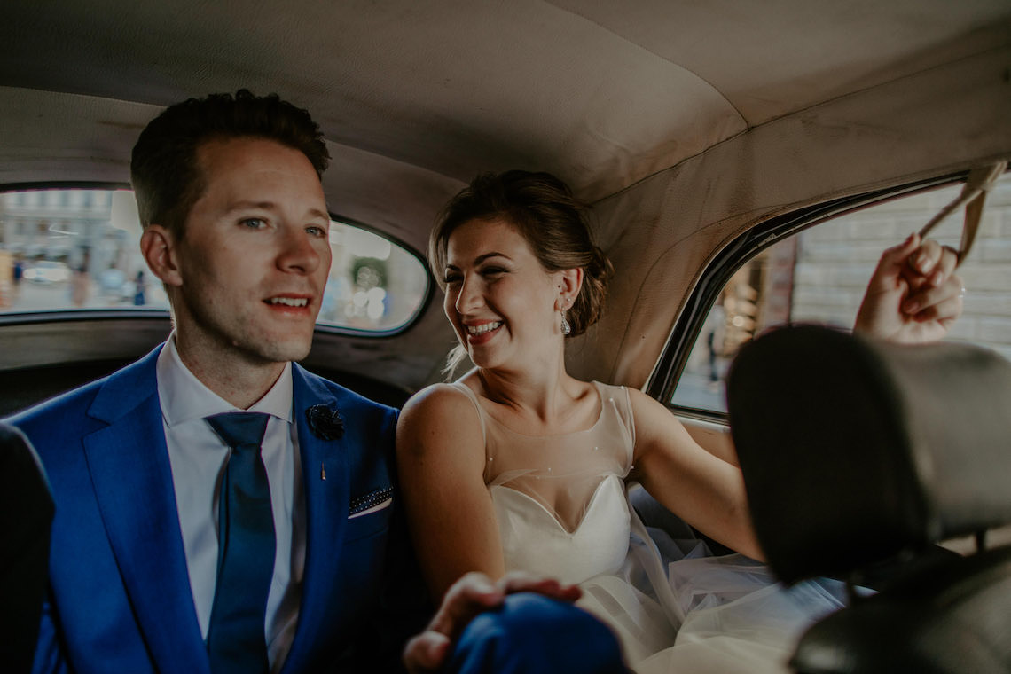 Bride and Groom in VW Beetle Convertible in Italy