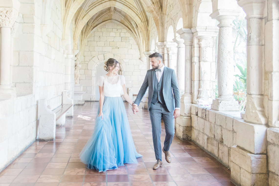Romantic Watercolor Ideas Featuring A Blue Wedding Dress   Cana Rose Photography 1