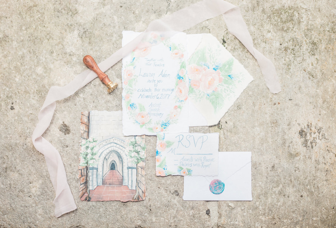 Romantic Watercolor Ideas Featuring A Blue Wedding Dress   Cana Rose Photography 4