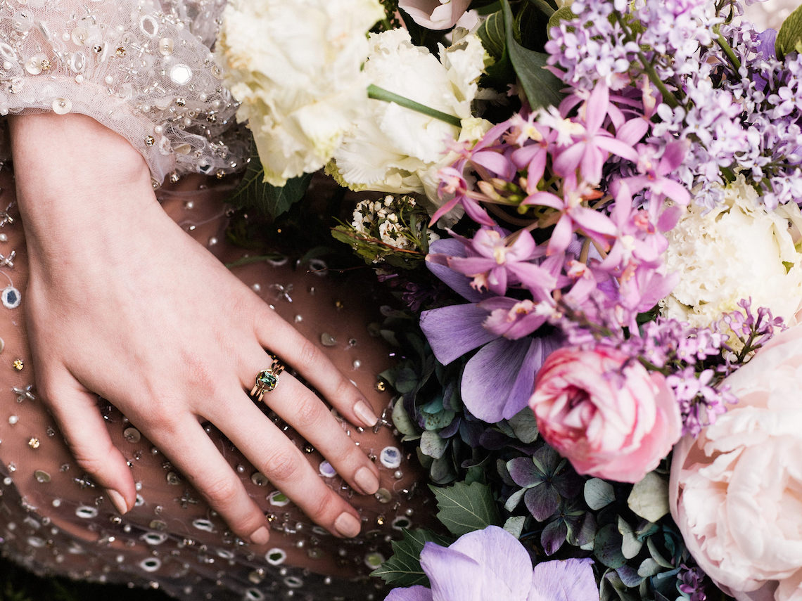 Sparkling Art Deco Wedding Inspiration From NYC | Mibellarosa | Jenny Fu Studio 45