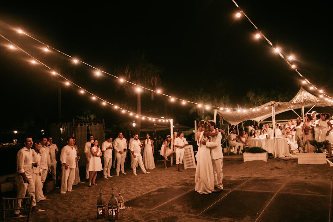 Relaxed All-White Spanish Beach Wedding With Seriously Glamorous Bridal Beauty Style   Sara Lobla Photography 19