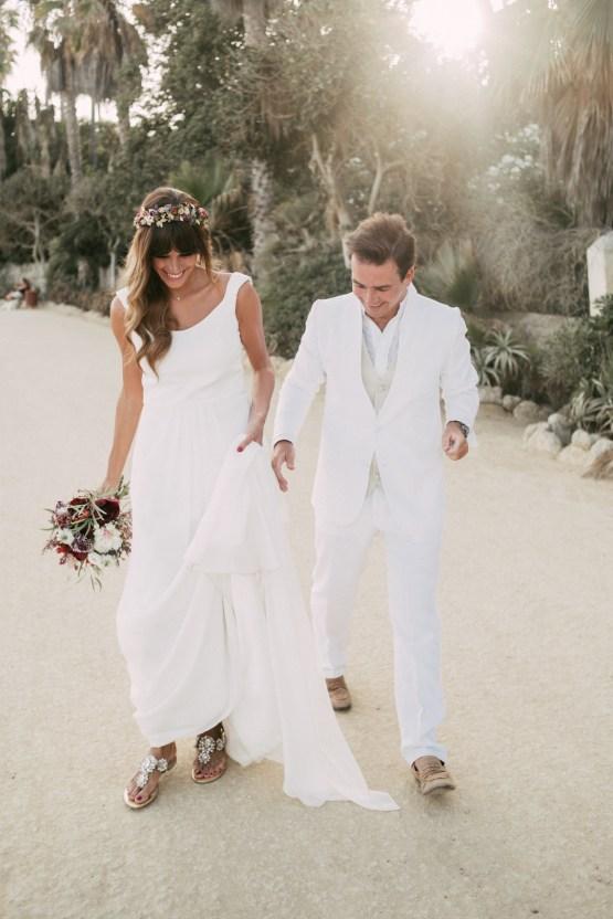 Relaxed All-White Spanish Beach Wedding With Seriously Glamorous Bridal Beauty Style   Sara Lobla Photography 37