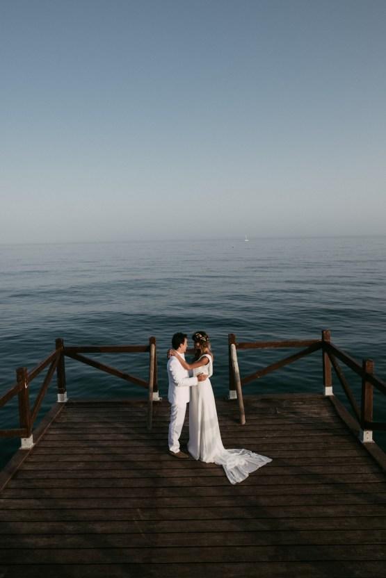 Relaxed All-White Spanish Beach Wedding With Seriously Glamorous Bridal Beauty Style   Sara Lobla Photography 40