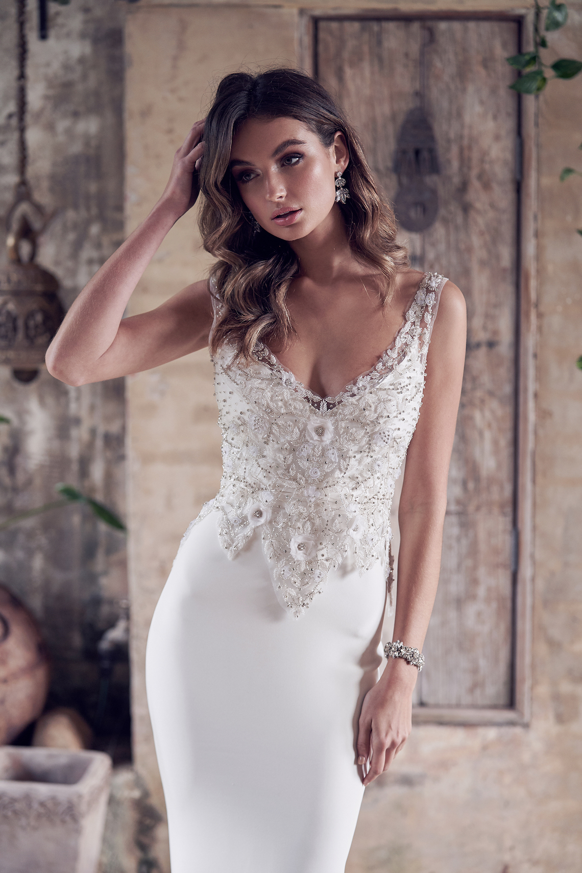 The Romantic & Sparkling Anna Campbell Wanderlust Wedding Dress Collection | Paige Dress (Crepe de Chine)-2