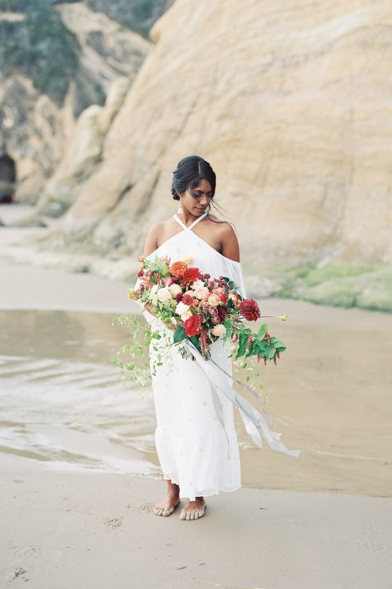 Artistic Burgundy & Fig Beach Wedding Inspiration | Rosencrown Photography 1