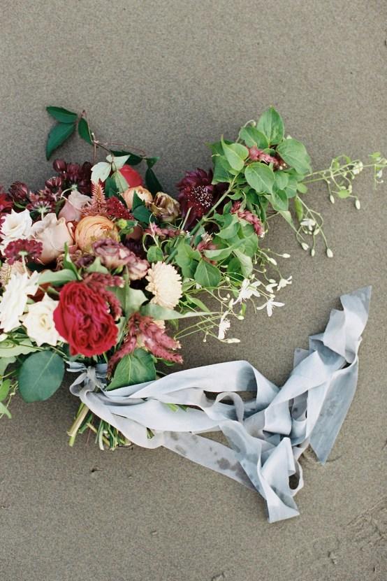 Artistic Burgundy & Fig Beach Wedding Inspiration   Rosencrown Photography 15