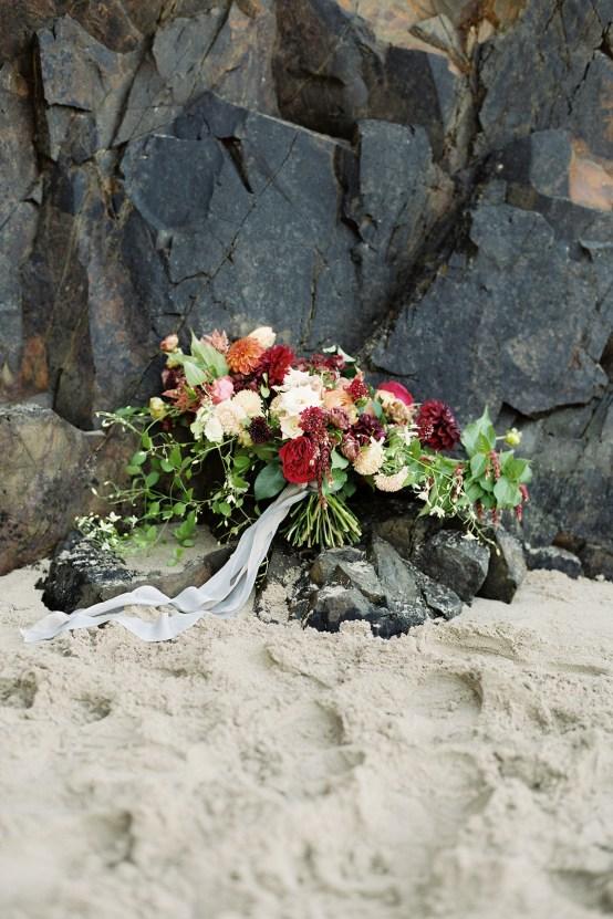 Artistic Burgundy & Fig Beach Wedding Inspiration   Rosencrown Photography 20