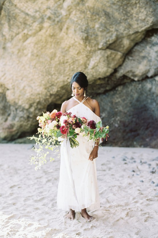 Artistic Burgundy & Fig Beach Wedding Inspiration   Rosencrown Photography 21