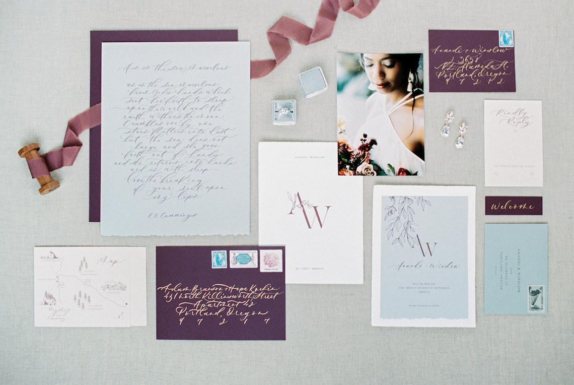 Artistic Burgundy & Fig Beach Wedding Inspiration   Rosencrown Photography 53