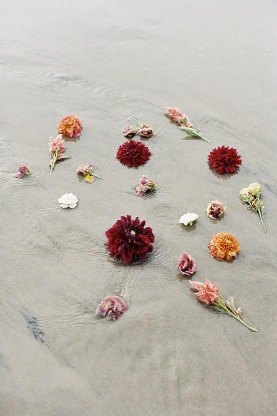 Artistic Burgundy & Fig Beach Wedding Inspiration   Rosencrown Photography 7