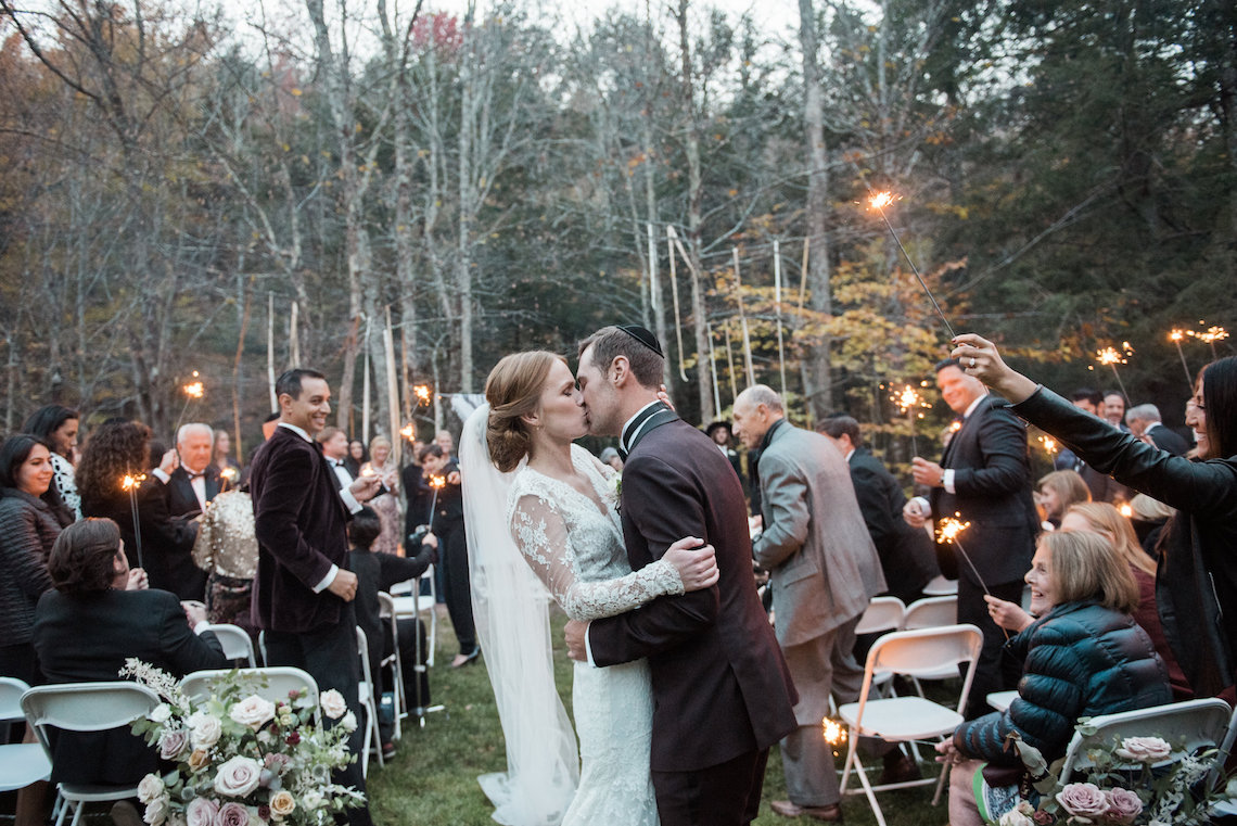 Warm Fall Catskills Wedding With Ceremony Sparklers – Christina Lilly Photography – Buds of Brooklyn 12