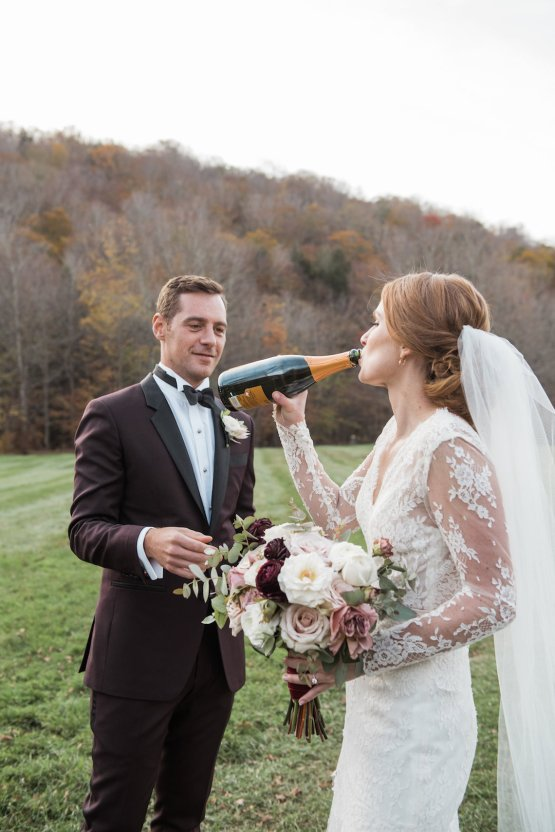 Warm Fall Catskills Wedding With Ceremony Sparklers – Christina Lilly Photography – Buds of Brooklyn 45
