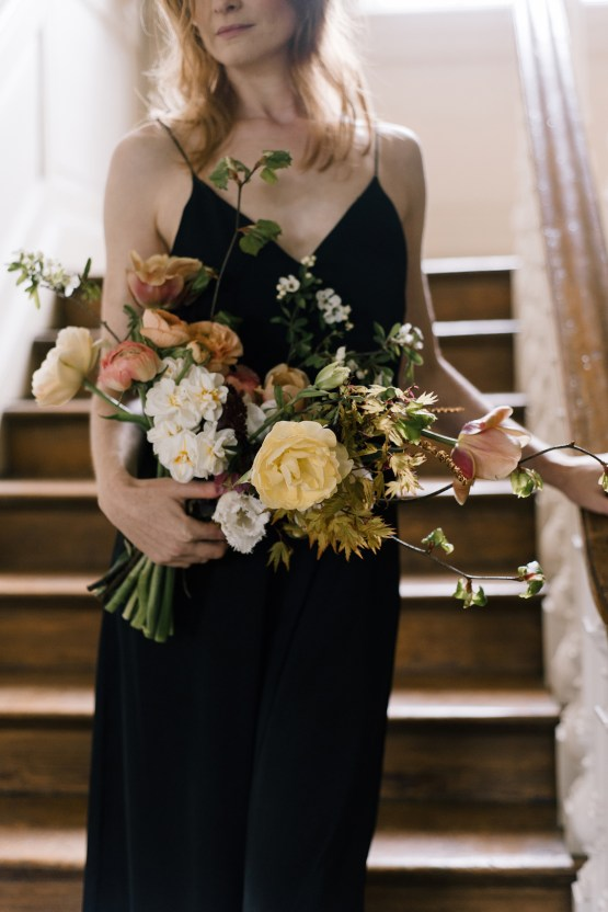 Dramatic Bridesmaid Inspiration With Fall Florals and A Black Jumpsuit – Georgina Harrison Photography 16