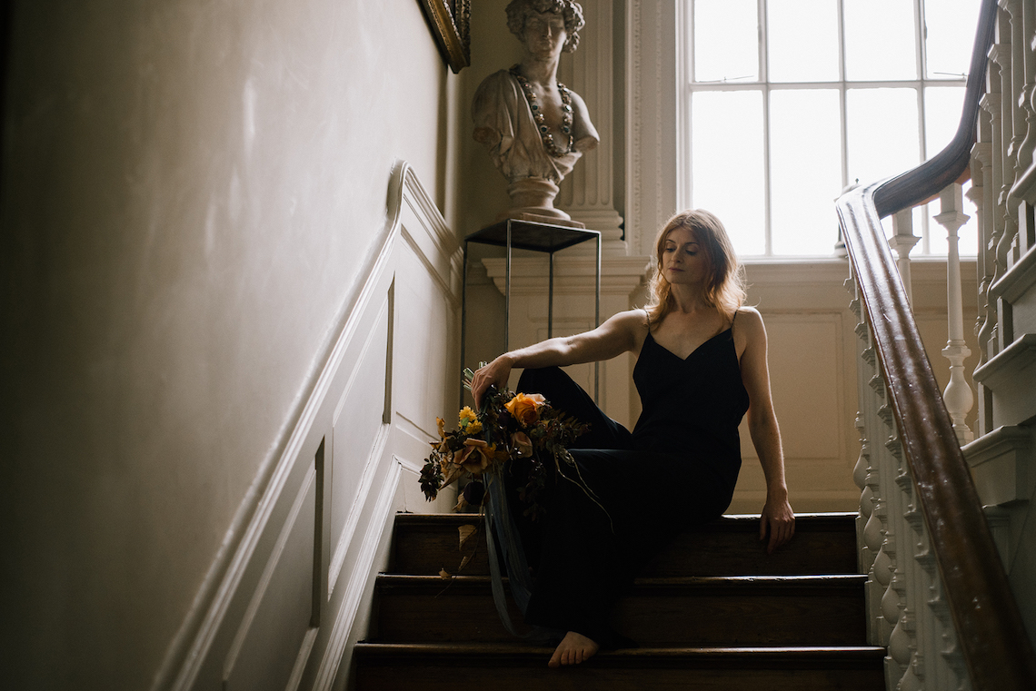 Dramatic Bridesmaid Inspiration With Fall Florals and A Black Jumpsuit – Georgina Harrison Photography 2