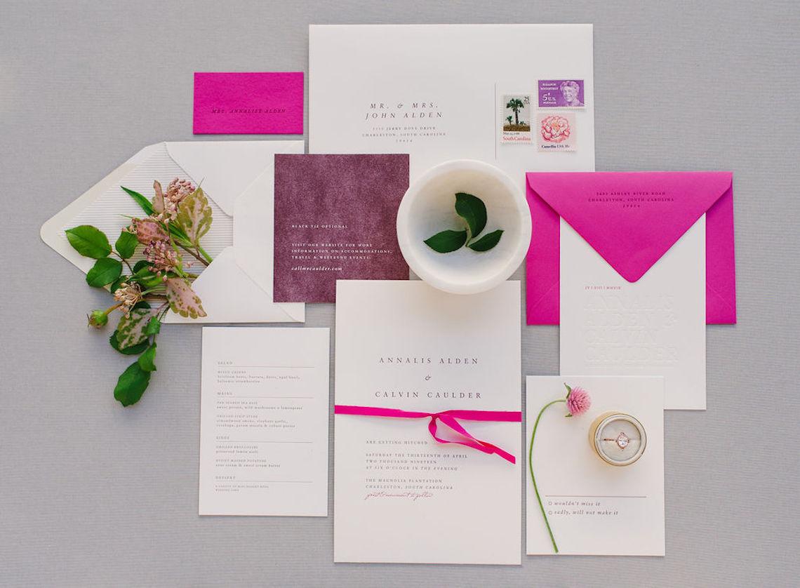 Elegant Fuchsia Wedding Inspiration in Charleston – Carrie Joy Photography – Detailed I Dos 46