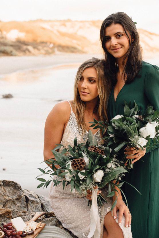 Romantic Same Sex Beach Elopement Inspiration in Earth Tones – Kalon Weddings Photography – Chloe Nicole Weddings 21