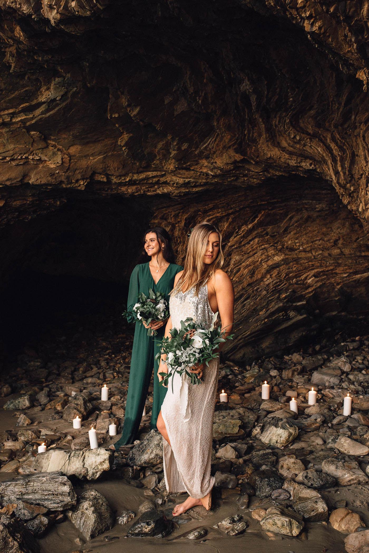 Romantic Same Sex Beach Elopement Inspiration in Earth Tones – Kalon Weddings Photography – Chloe Nicole Weddings 34
