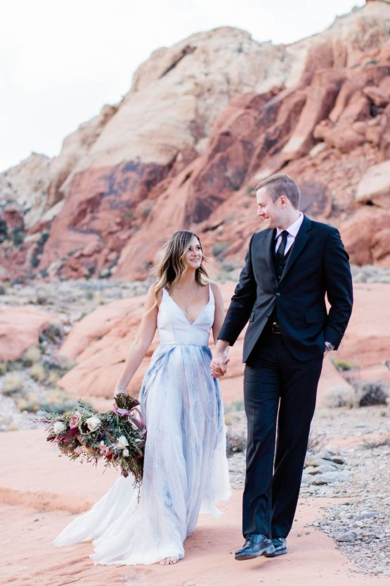 Red Rock Desert Romance With A Whimsical Blue Leanne Marshall Wedding Dress – Elizabeth M Photography 17
