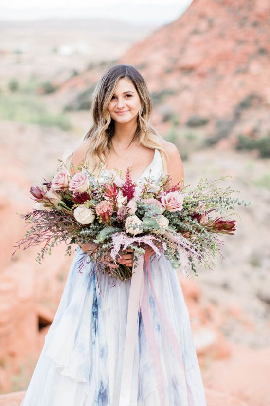 Red Rock Desert Romance With A Whimsical Blue Leanne Marshall Wedding Dress – Elizabeth M Photography 21