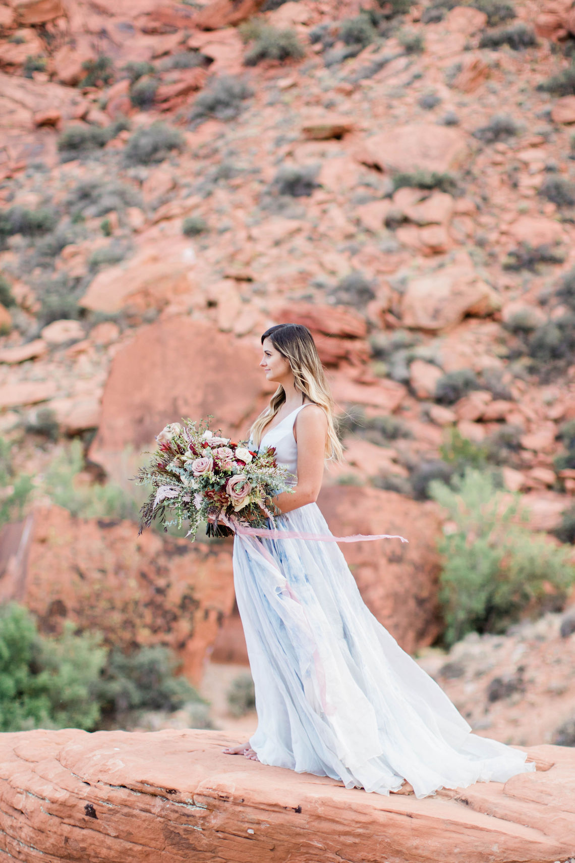 Red Rock Desert Romance With A Whimsical Blue Leanne Marshall Wedding Dress – Elizabeth M Photography 22