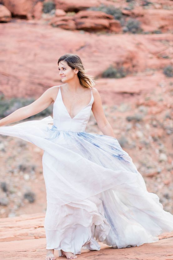 Red Rock Desert Romance With A Whimsical Blue Leanne Marshall Wedding Dress – Elizabeth M Photography 26