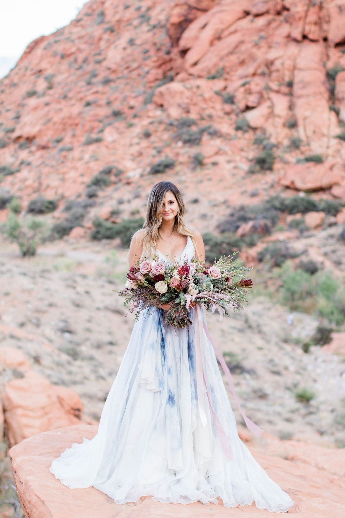 Red Rock Desert Romance With A Whimsical Blue Leanne Marshall Wedding Dress – Elizabeth M Photography 41