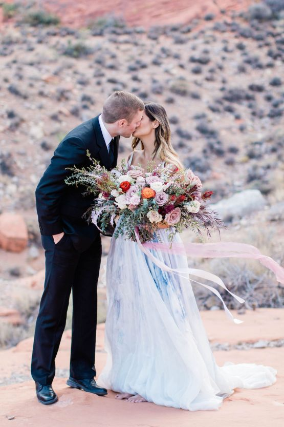 Red Rock Desert Romance With A Whimsical Blue Leanne Marshall Wedding Dress – Elizabeth M Photography 9