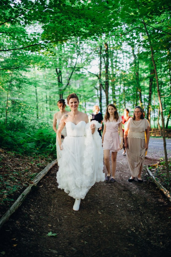 Adorable DIY Backyard Wedding in Upstate New York with a Rock and Roll Bride and Groom – Claire Eliza 37