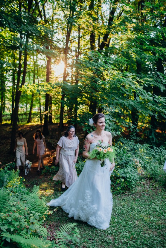 Adorable DIY Backyard Wedding in Upstate New York with a Rock and Roll Bride and Groom – Claire Eliza 40